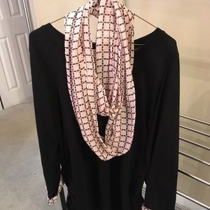 Elle Black Sweater with Plaid Infinity Scarf